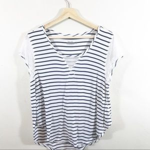 Splendid navy striped scoop Neck tee With Mesh